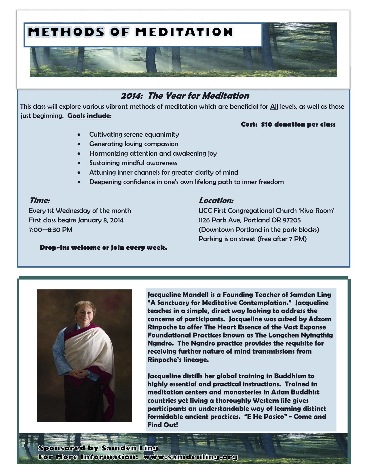 Meditation Flyer 2014 Meditation Methods Flyer