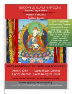 October 4-6th 2019 Register Now for Becoming Guru Rinpoche @ Cerulean Portland Tasting Room