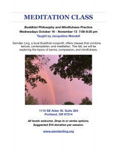 Wednesday Meditation Class 7-8:30pm @ Portland Shambala Room 204